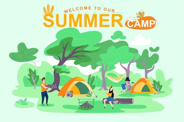 Affiche bienvenue à notre camp d'été, lettrage