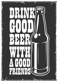 Affiche de bière typographique