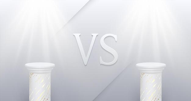 Affiche blanche de confrontation avec des soffites de socles en marbre vides et signe vs bataille d'affaires confrontation rivalité match défi compétition sportive fond de vecteur
