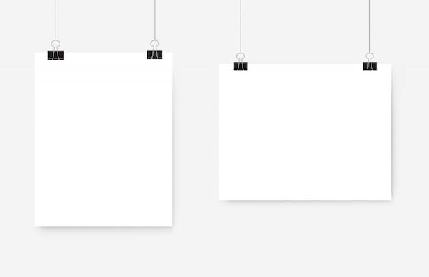 Affiche blanche suspendue