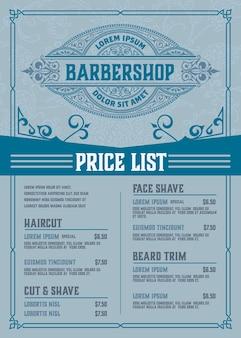 Affiche bleue de la liste de prix du salon de coiffure