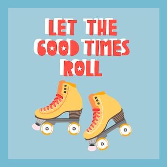 Affiche bleue de patin à roulettes tendance, modèle de carte.