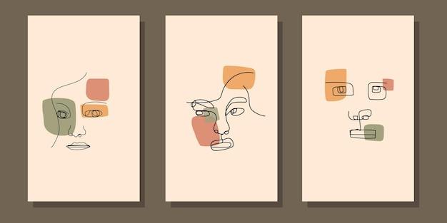 Affiche de boho de visage d'art de ligne moderne esthétique abstraite du milieu du siècle