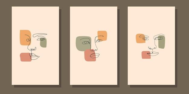 Affiche de boho de visage d'art moderne au milieu du siècle esthétique abstrait