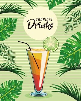 Affiche de boisson cocktail tropical