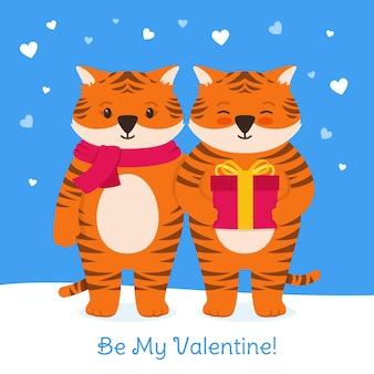 Affiche de boîte-cadeau de tigre de carte de saint valentin heureuse