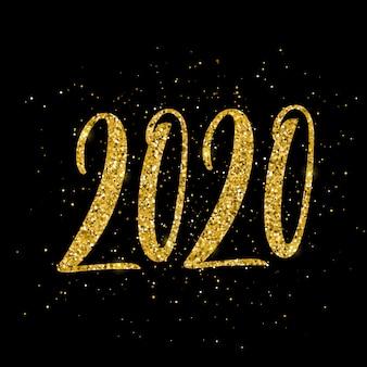 Affiche de bonne année 2020 avec lettrage dessiné à la main.