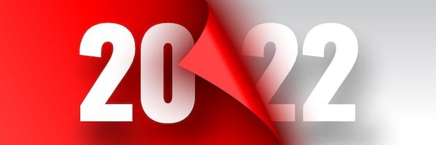 Affiche de bonne année ruban rouge avec bord incurvé