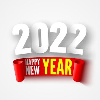 Affiche de bonne année avec ruban rouge. conception de cartes de voeux.
