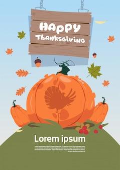 Affiche de bonne fête de thanksgiving. carte de voeux de récolte traditionnelle d'automne