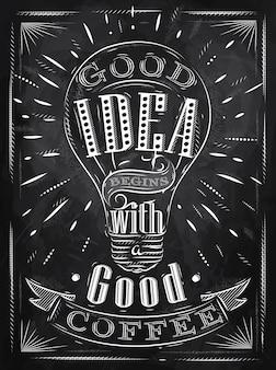 Affiche bonne idée café craie