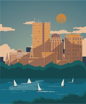 Affiche boston flat vintage