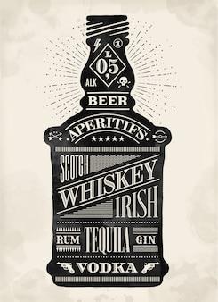 Affiche bouteille d'alcool avec lettrage dessiné à la main