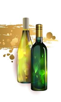 Affiche avec des bouteilles de vin blanc