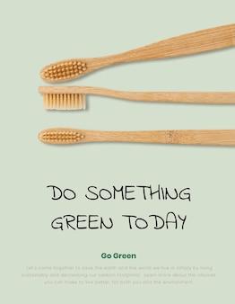 Affiche de brosses à dents en bambou produit naturel biodégradable