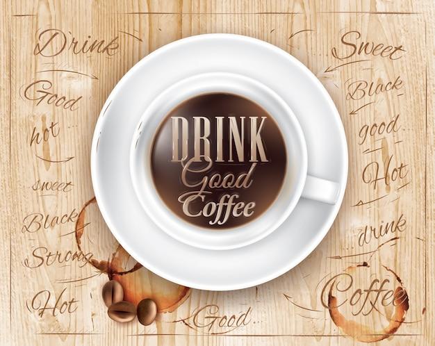 Affiche café couleur bois
