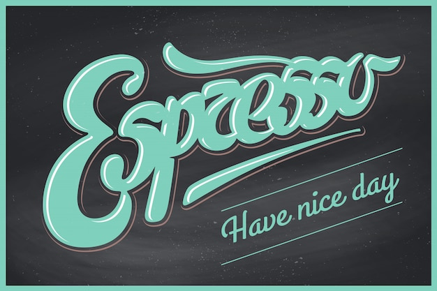 Affiche café avec lettrage dessiné à la main espresso et inscription passez une bonne journée
