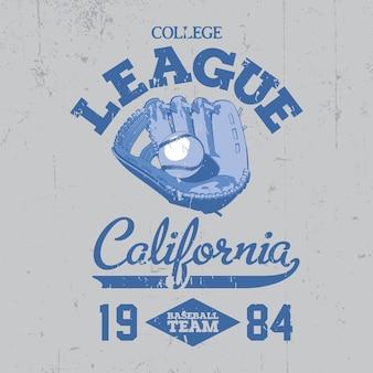 Affiche de la california college league avec une petite balle sur l'illustration bleue