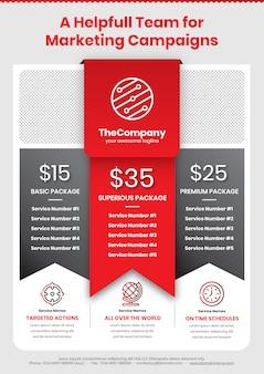 Affiche de la campagne marketing a4 modèle 2 en rouge