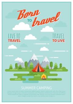 Affiche de camping d'été