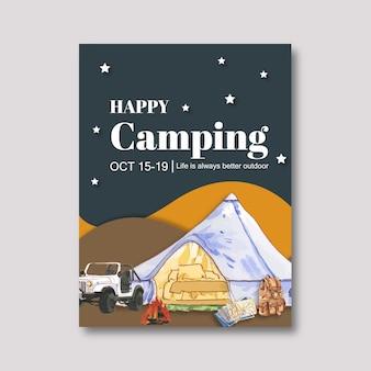 Affiche de camping avec illustrations de tente, voiture, sac à dos et feu de camp