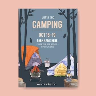 Affiche de camping avec tente, casserole, poêle à griller et lanterne
