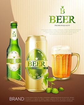 Affiche de canette de bière en métal