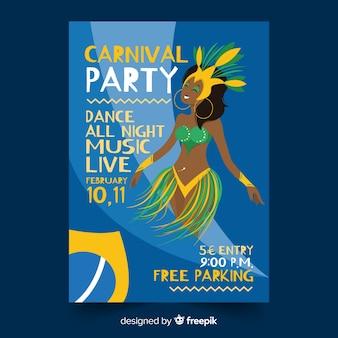 Affiche de carnaval brésilien danseuse dessiné à la main