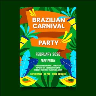 Affiche de carnaval brésilien feuillage de fête