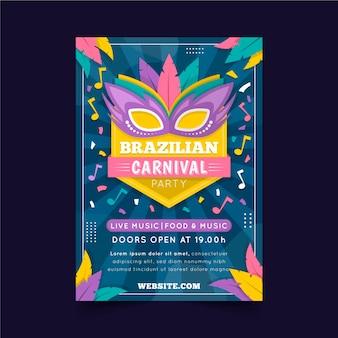 Affiche de carnaval brésilien plat
