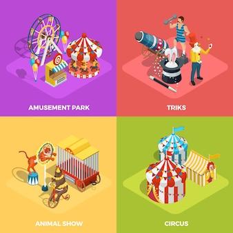 Affiche carrée du cirque 4 icônes isométriques