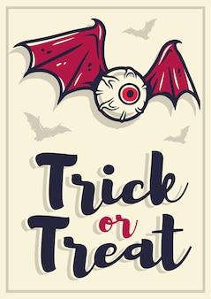 Affiche ou carte postale de fête d'halloween avec un globe oculaire horrible et effrayant avec des ailes