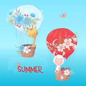 Affiche de carte postale d'un lama et une girafe mignons dans un ballon avec des fleurs en style cartoon