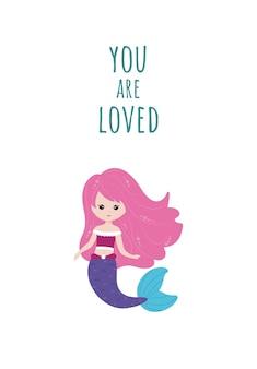 Affiche, carte de voeux avec jolie petite sirène. vecteur, style dessin animé.