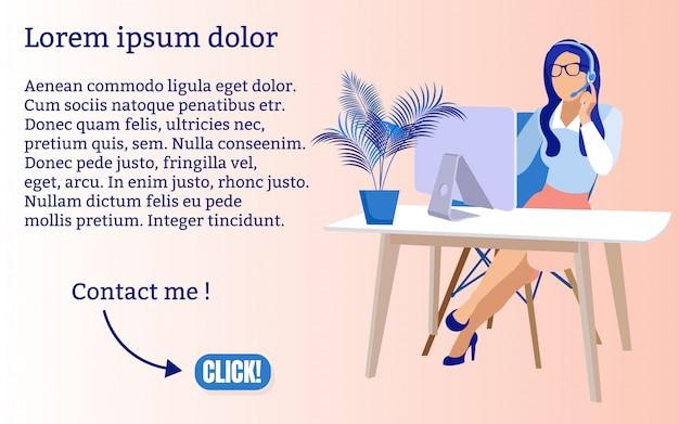 Affiche cartoon development skills cartoon. l'opérateur développe des compétences informatiques. mince femme assise à table dans le bureau et faire un appel téléphonique à l'aide d'une application sur ordinateur. illustration.