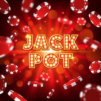 Affiche de casino jack pot avec jetons de poker