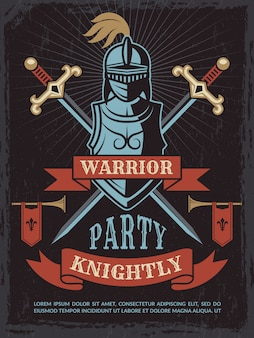 Affiche avec casque de guerrier médiéval et épées
