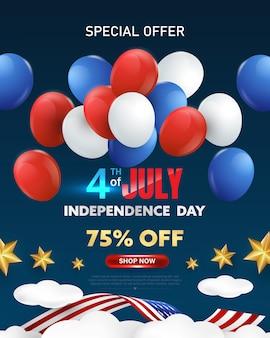 Affiche de célébration du 4 juillet. jour de l'indépendance usa modèle de bannière de promotion de vente avec des ballons rouges, blancs et bleus et des coffrets cadeaux.
