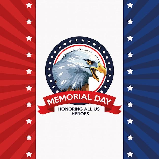 Affiche de célébration du jour du souvenir avec aigle