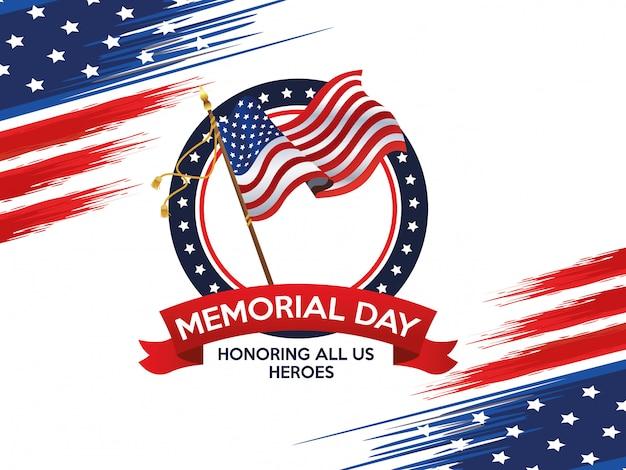 Affiche de célébration du jour du souvenir avec le drapeau américain