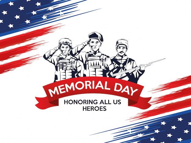 Affiche de célébration du jour du souvenir avec une troupe de héros