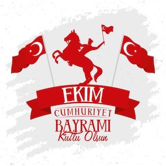 Affiche de célébration ekim bayrami avec soldat à cheval agitant le drapeau et le cadre de ruban