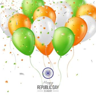 Affiche de célébration de la fête de la république indienne heureuse ou fond de bannière, carte. ballons de trois couleurs avec des confettis. illustration vectorielle.