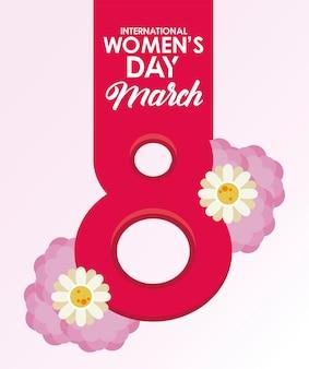 Affiche de célébration de la journée internationale de la femme avec numéro huit et illustration de fleurs lilas