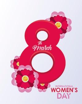 Affiche de célébration de la journée internationale de la femme avec numéro huit et illustration de jardin de fleurs