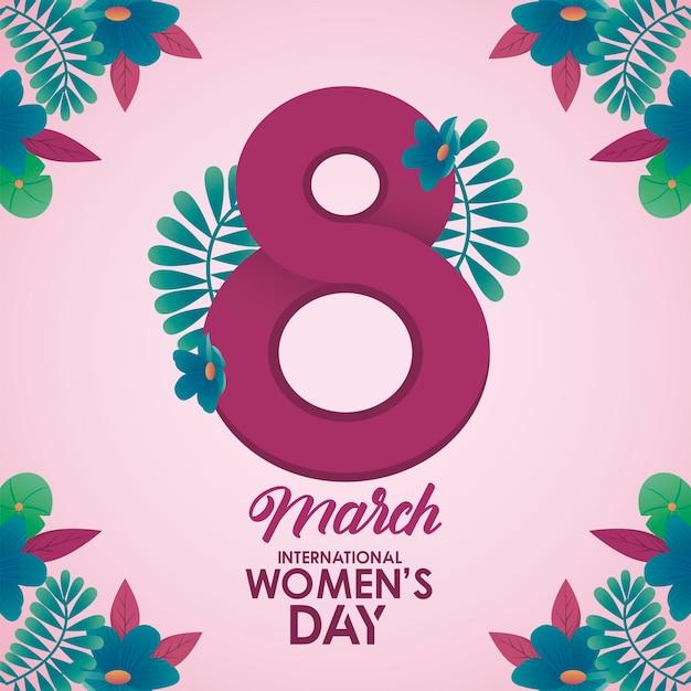Affiche de célébration de la journée internationale des femmes avec numéro huit et illustration de fleurs de jardin