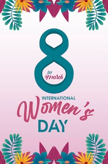 Affiche de célébration de la journée internationale des femmes avec numéro huit et illustration de fleurs tropicales