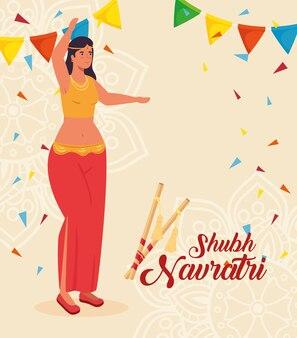 Affiche de célébration de navratri heureux avec femme danse indienne et guirlandes suspendues conception d'illustration de décoration