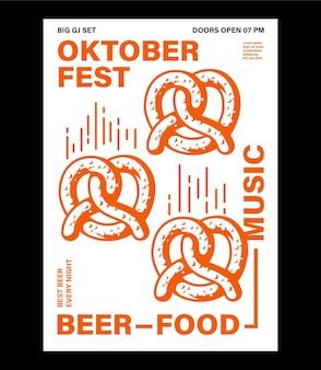Affiche de célébration de l'oktoberfest verre de bière bretzel et bouteille avec typographie