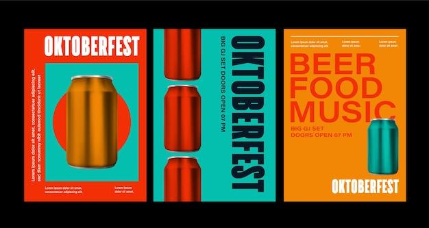 Affiche de célébration de l'oktoberfest vue de dessus d'une bouteille de boissons isolée en illustration 3d